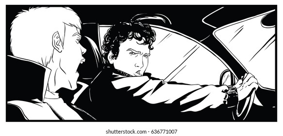Two men in the car, shouting something