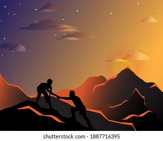 Two men climb a mountain, one man helps another, reaches out a helping hand, black silhouettes of people on a  background mountain, vector illustration