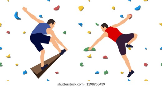 Two men climbers on a wall in a climbing gym isolated on a white background. Vector illustration.