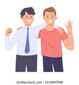 two men are close friends and embrace each other, two men are friends despite different occupations and habits, character people vector illustration