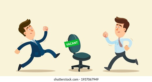 Two men are competing for a vacancy in the company. Competition for a new job. Hiring agency, human resources. Vector illustration, flat design, cartoon style, isolated background.