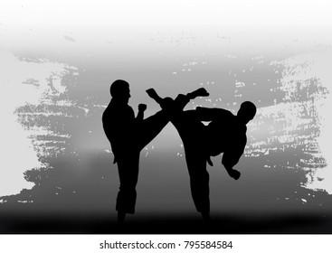 Two men demonstrate karate.