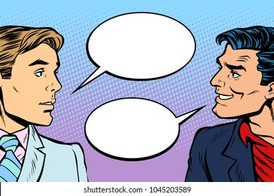 two men dialogue. Pop art retro vector illustration comic cartoon vintage kitsch drawing