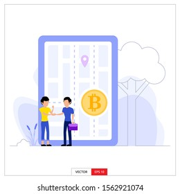 two men doing money and bitcoin barter transactions. Vector illustration flat design style.