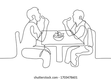 two men eat chicken legs at the table, their mouths are wide open they are sitting opposite each other between the guys a full plate of food. One continuous line drawing. Can be used for animation