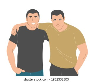 The two men embrace in a brotherly way. Portrait of friends. Flat vector illustration.