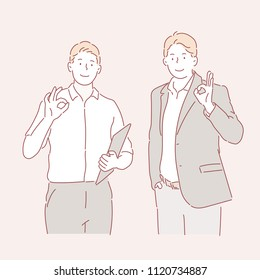 Two men with fingers giving OK signs. hand drawn style vector doodle design illustrations.