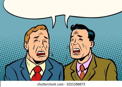Two men friends crying. Comic cartoon pop art illustration retro vintage kitsch vector