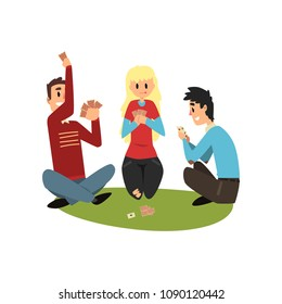 Two men and girl playing cards, friends having good time together vector Illustration on a white background