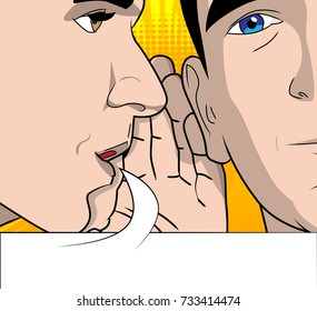 Two men gossiping with speech bubble. Vector cartoon, retro style close up illustration.