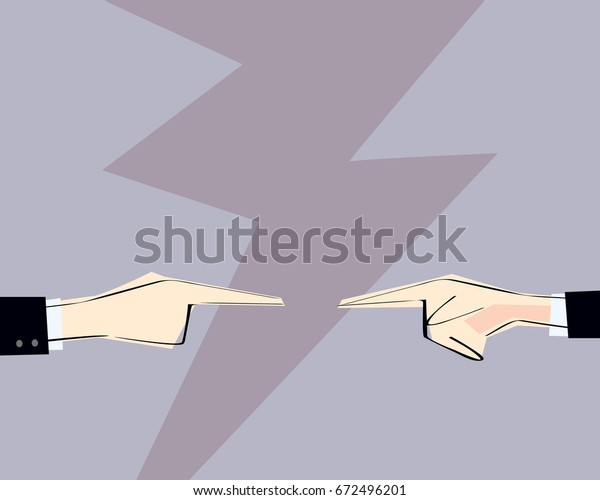 Two men hands with pointing finger directed at each other. Vector illustration. Concept of arguing, accusation, business responsibility, conflict.