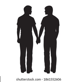 Two men holding hands. Isolated on white.