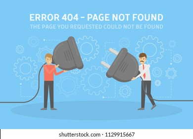 Two men holding wire plug and socket trying to fix the web page. 404 error page not found concept. Flat vector illustration of internet connection problem with gear signs on the background