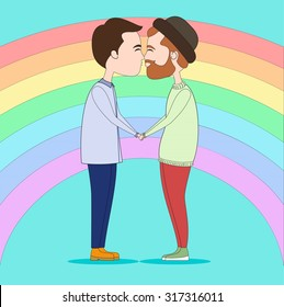 Two men kissing and holding with hands on rainbow background. Cartoon illustration about gays couple