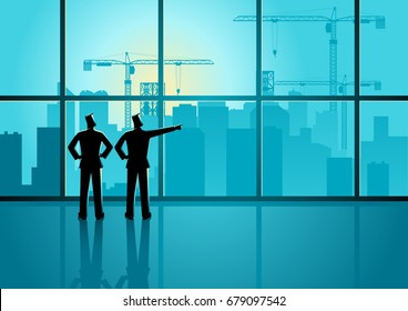 Two men looking through window at big city buildings and construction