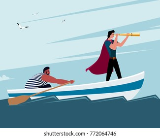 Two men on a boat: one looks through a monocle, another man rowing