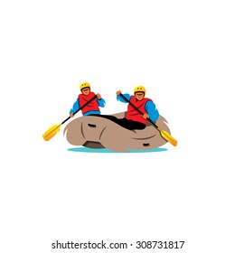 Two men Rafting. Adventure on the River sign. Inflatable boat with people. Challenge yourself. Vector Illustration. Branding Identity Corporate logo design template Isolated on a white background