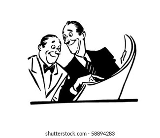 Two Men Reading Newspaper - Retro Clip Art