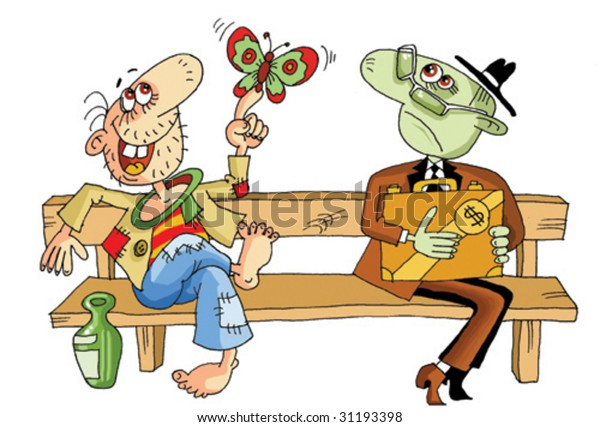 Two men (rich and happy) sit next on a bench