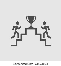 Two men runnig up the stairs toward trophy cup. Success symbol. Vector icon eps 10.