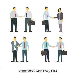 Two men shake each other hands. Business style. Flat graphics for your design. Modern business man set.
