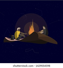 Two men sit and warm themselves by the fire on a flying carpet in space. Funny vector illustration on the theme of travel, danger.