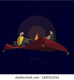 Two men sit and warm themselves by the fire on a red flying carpet in space. Funny vector illustration on the theme of travel, danger, adventure.