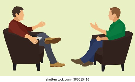 Two Men Sitting in Chairs Facing Each Other Having in Conversation