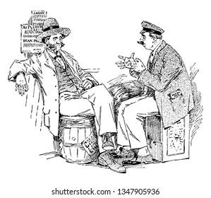 Two men sitting on barrels and talking, vintage line drawing or engraving illustration