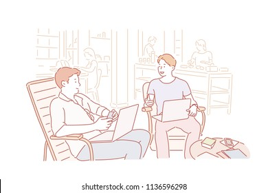 Two men sitting on a cafe terrace and having a business conversation while looking at a laptop. hand drawn style vector design illustrations.