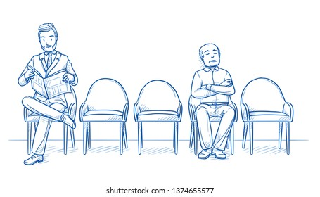 Two men sitting in a waiting room, one reading, in business suit, one sleeping, in casual clothes. Three chairs are empty. Hand drawn line art cartoon vector illustration.