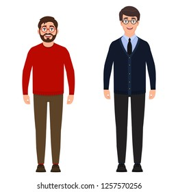 Two men are standing, a bearded man in a red sweater, a tall young guy in a suit, people are smiling, a good mood, characters in a flat style
