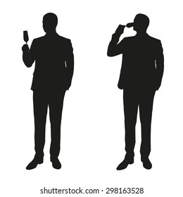 Two men in a suit drinking champagne. Vector silhouettes