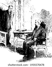 Two men in suits, a man sitting on chair near table holding book and talking to another man standing in front of him, book kept on table, vintage line drawing or engraving illustration