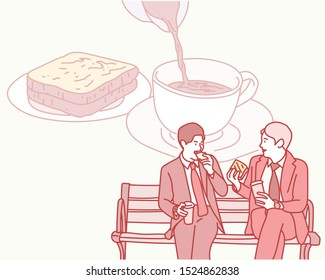 Two men in suits sit on a bench and eat sandwiches and chatter. hand drawn style vector design illustrations.