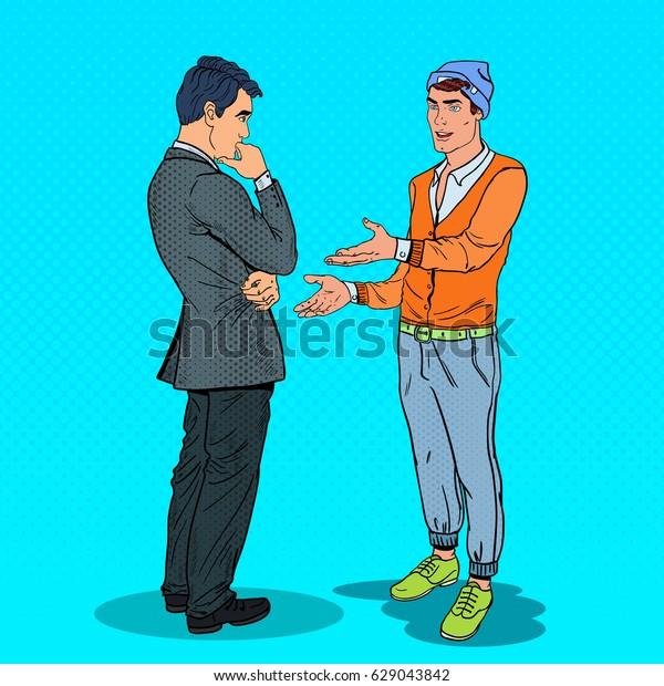 Two Men Talking. Business Meeting. Pop Art vector illustration