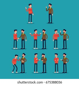Two men talking. Creative set of flat vector character design on conversation poses and gestures of two casually clothed men