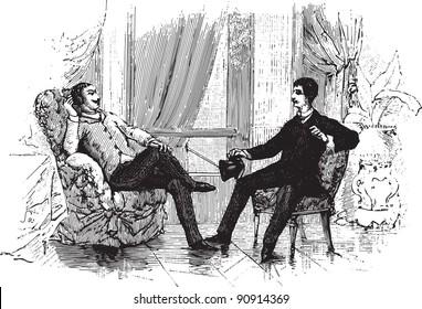 "Two men talking - Vintage illustration from ""La petite soeur par Hector Malot"" 1882"