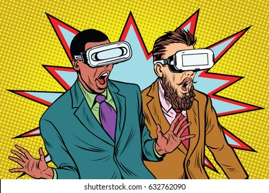 Two men in VR glasses scared and screaming in panic. Film and entertainment. Pop art retro vector illustration