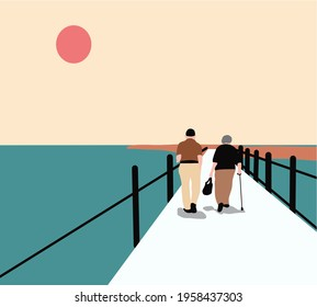 Two men walking on a bridge in a park on a sunny day with walker. Holiday Together.