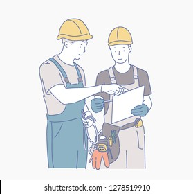 Two men wearing safety hat on the construction site are discussing the work. hand drawn style vector design illustrations.