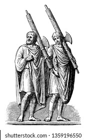 Two men wearing togas and holding fasces in hands, vintage line drawing or engraving illustration