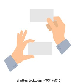 Two men's hands are holding business cards. Template flat illustration of businessman's hands and blank cards. Vector isolated on white background design elements for infographics, presentations.