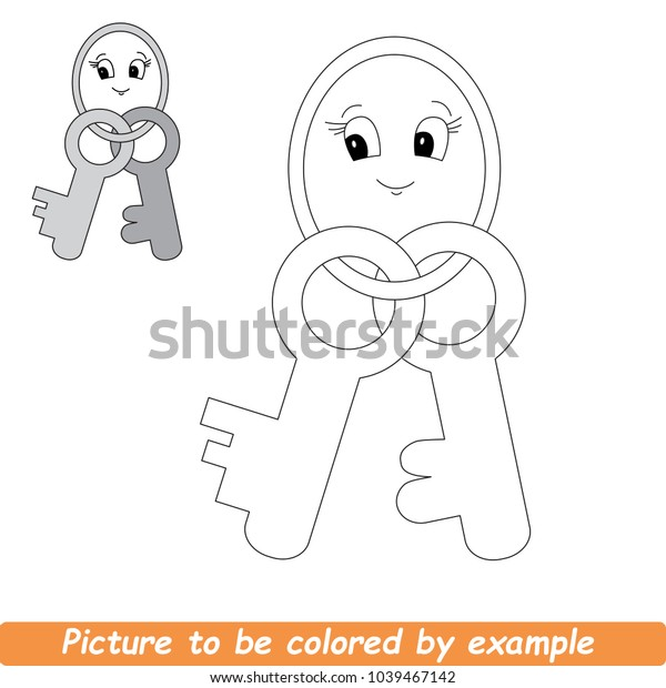 Two Metal Keys Beautiful Be Colored Stock Vector Royalty