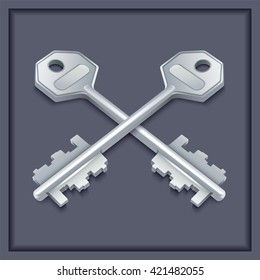 Two metal keys on gray background. Vector illustration.