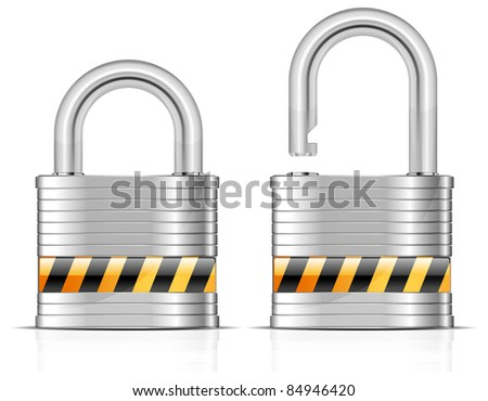 Two metal open and close padlocks on white, vector illustration