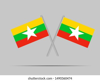 Two metall flagpole with National flag of Republic of the Union of Myanmar. original colors and proportion. Simply vector illustration eps10, from countries flag set.