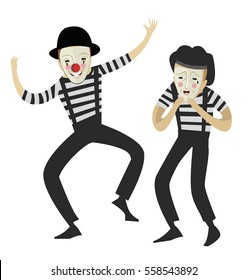 two mimes acting