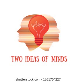 Two minds together got great ideas.Brilliant lightbulb education or invention pictograms . Think big. two ideas of minds