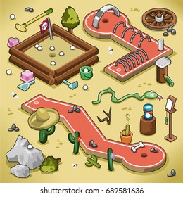 Two mini golf lanes and sand trap in isometric view, desert theme including tunnel, snake, cactus and bone (vector illustration)